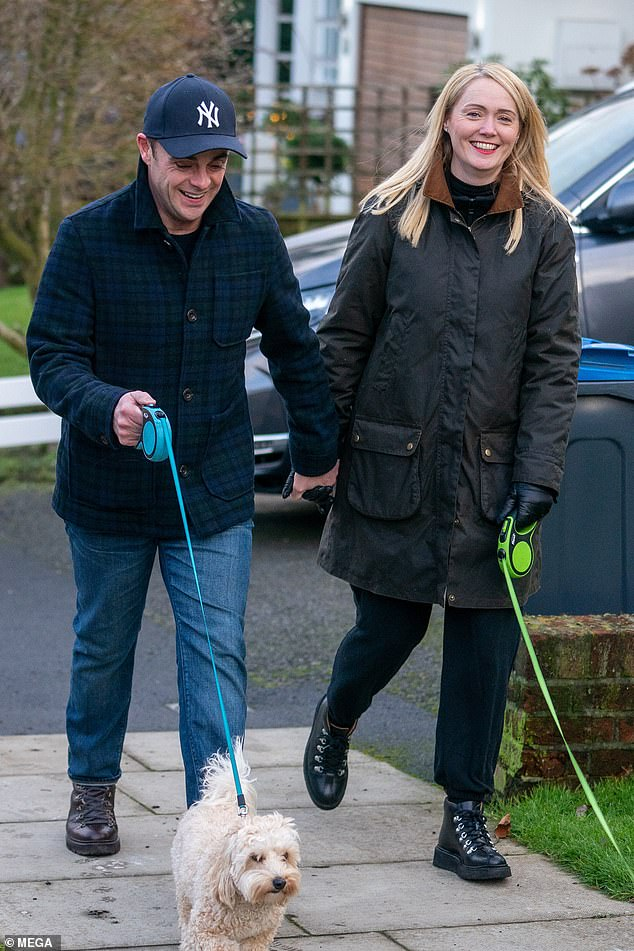 It must be love:Ant McPartlin looked on cloud nine as he was seen with his now fiancée Anne-Marie Corbett for the first time since he proposed to her