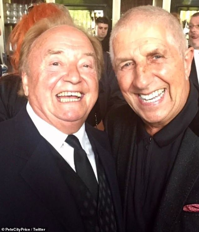 Heavy heart: The news was broken by Gerry's friend, radio host Pete Price, who shared a photograph of the pair together [Pete, 74, pictured R]