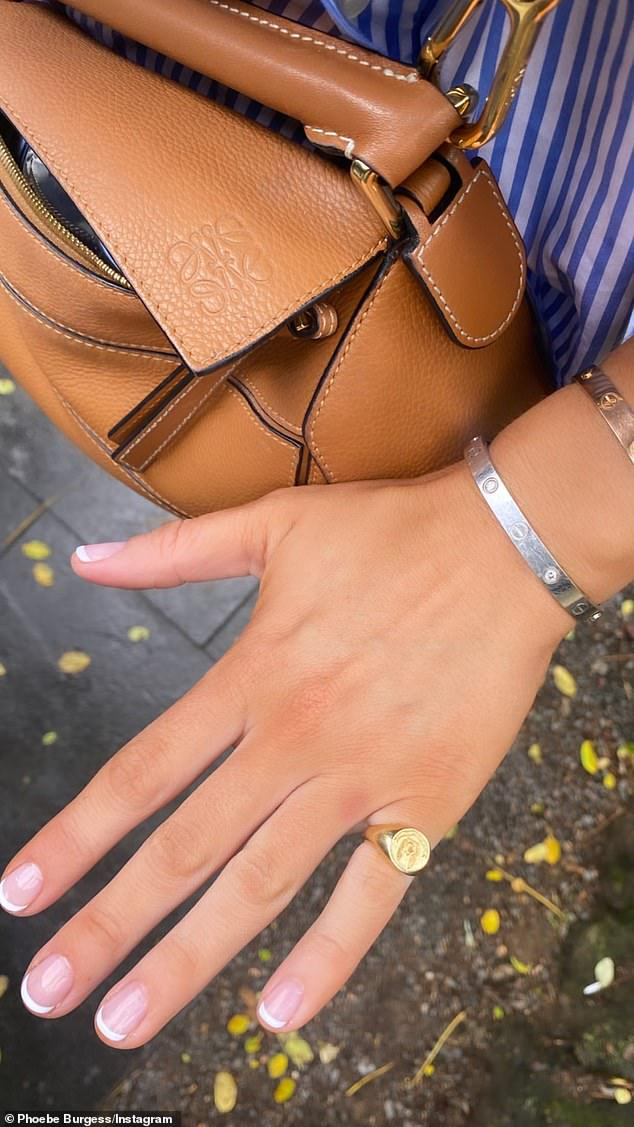 No ring:The former WAG shared a photo of her left hand to Instagram, revealing it was free of wedding or engagement rings