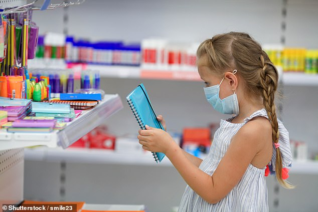 Durign the coronavirus pandemic, parents have said value for money when buying school supplies is the most important factor to consider (pictured: stock photo of young girl looking at notebook)