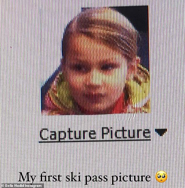 Baby's first ski trip: She also shared a cute throwback to her Instagram Story of young Bella, writing: 'My first ski pass picture'
