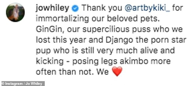 So happy: Jo thanked artistKaty Richardson for the fabulous miniatures on Instagram