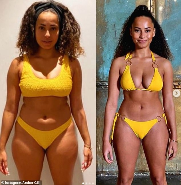 Transformation:Amber had also taken to Instagram on Monday to show off the first before and after snaps of her body transformation, as she posed in a yellow bikini