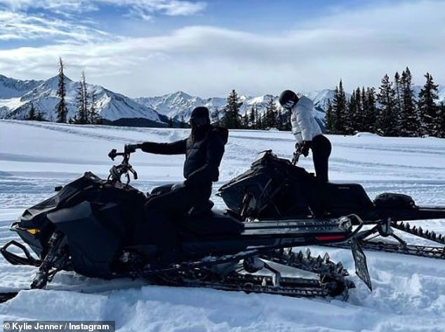 Catching a ride: She threw on a black helmet and goggles, as she mounted a snowmobile, writing in the caption: 'What a way to start the year'