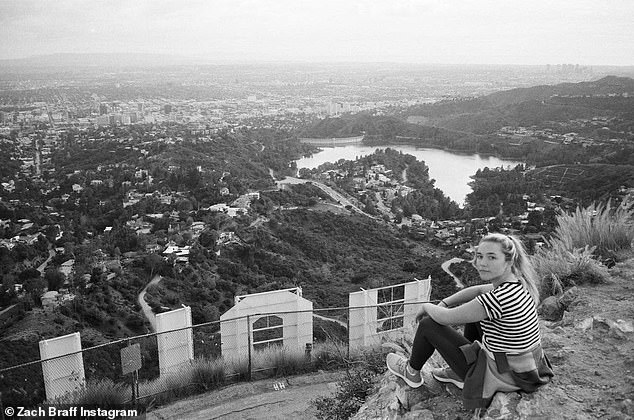 Bright lights in the big city: In his photo montage, Zach shared a black-and-white photograph of his girlfriend Florence sitting behind the famous Hollywood sign