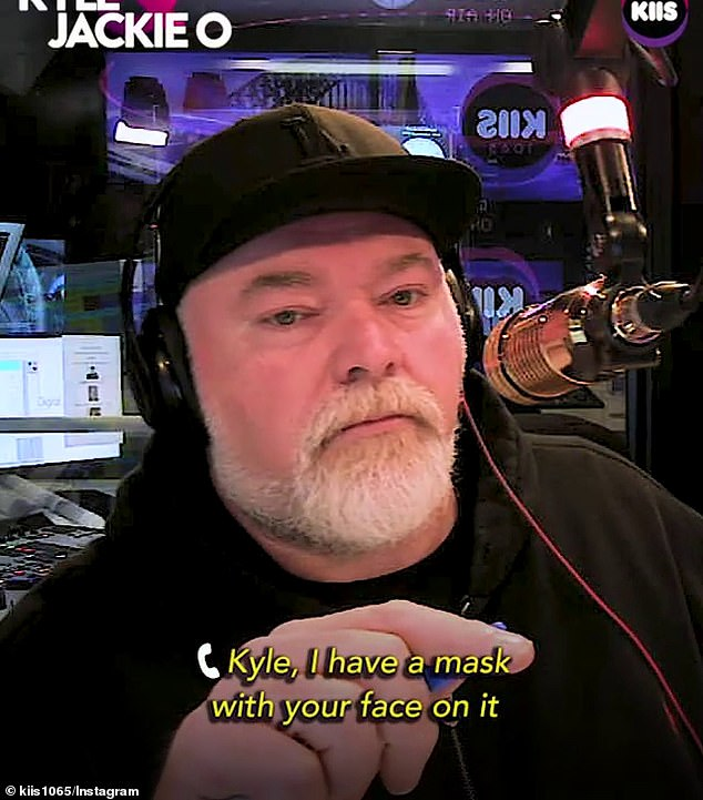 Bizarre sex confession: Kyle Sandilands, 49, (pictured) was left horrified during a recent on-air segment, when a caller revealed she makes her husband wear a mask with the shock jock's face on it whenever the couple have sex