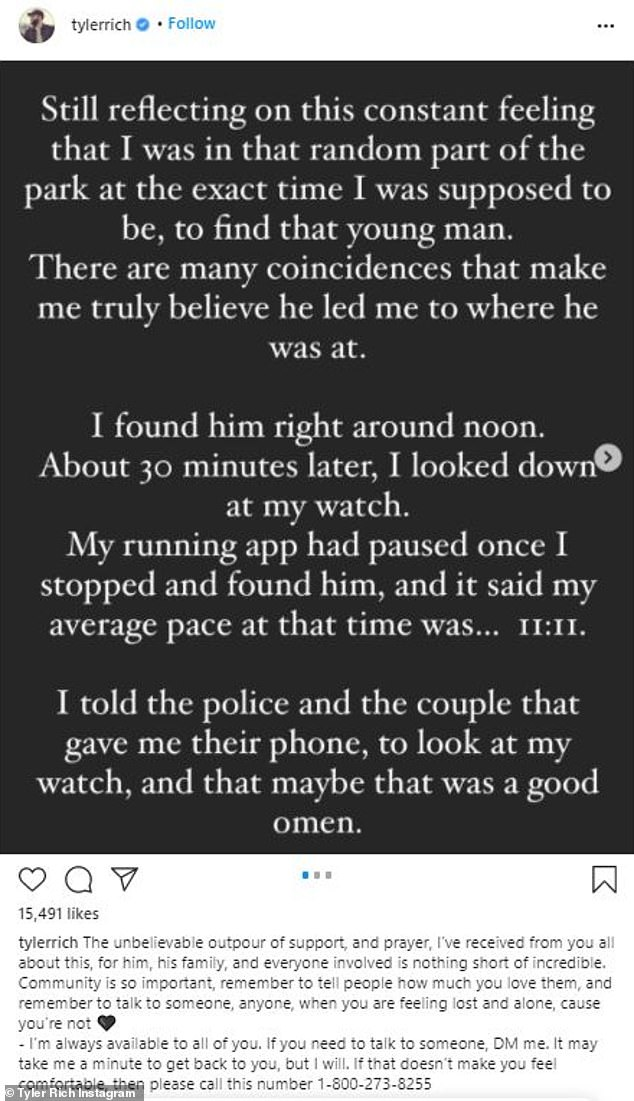 Significant? Rich wrote that he found the man's body at noon on New Year's Eve and that his running app had stopped right at 11:11, which he though was 'a good omen'