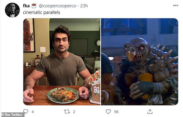 Extreme:Another popular user shared a still from 1991's Teenage Mutant Ninja Turtles II: The Secret of the Ooze, comparing Nanjiani's new appearance to the cartoonishly muscular mutated animal henchmen