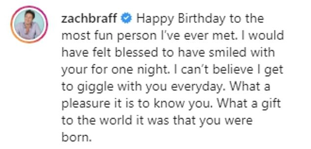 Cute: Offering fans a rare glimpse into their relationship, Zach marked his girlfriend's 25th birthday by dubbing her the 'most fun person' he's ever met