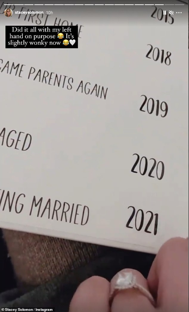 Wedding bells: The final label said 'We're getting married', with Stacey placing the year 2021 next to it