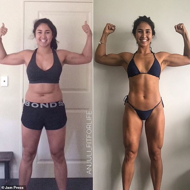 Despite going to the gym 'constantly' Anjuli did not see the results she wanted (left) until she started doing weight training (right)