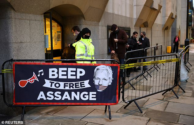 Protesters had gathered outside the famous court this morning to support Assange's release