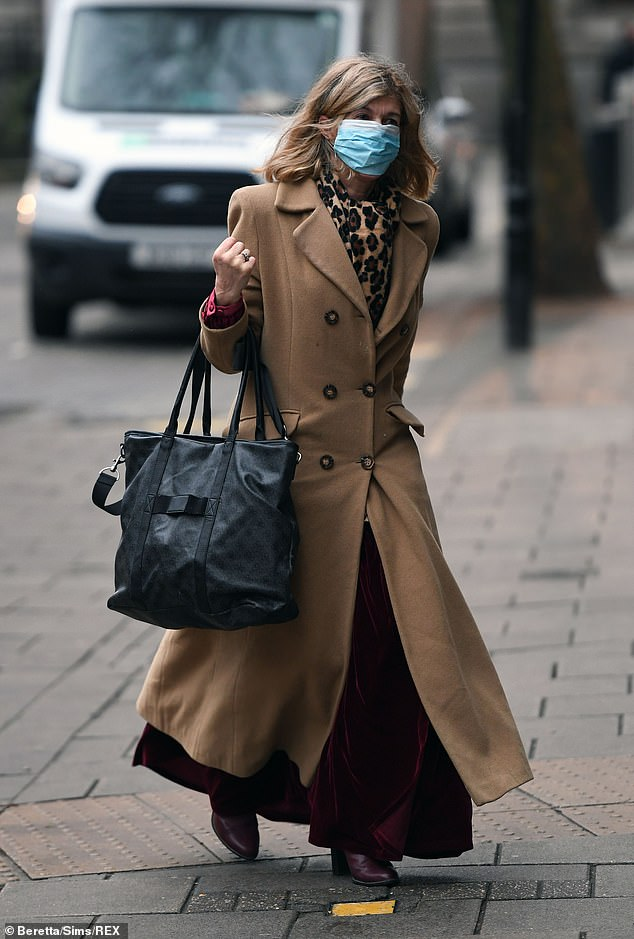 Cosy: Wearing a face mask as she walked towards the studios after the festive break, Kate was wrapped up against the cold in a long camel coat
