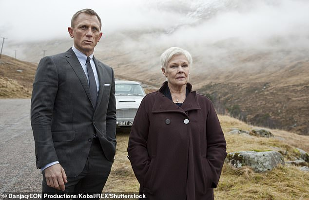 National treasure:Judi is one of the most famous actresses in history and has won one Academy Award, a Tony, four television BAFTA Awards, six film, and seven Laurence Olivier Awards (above in 2012's Skyfall with Daniel Craig as James Bond)