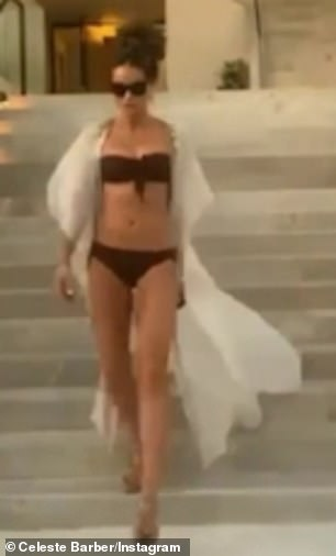 Hilarious: Kate Beckinsale (pictured) was given the meme treatment on Sunday, when comedian Celeste Barber, right, hilariously imitated one of her throwback bikini videos on Instagram