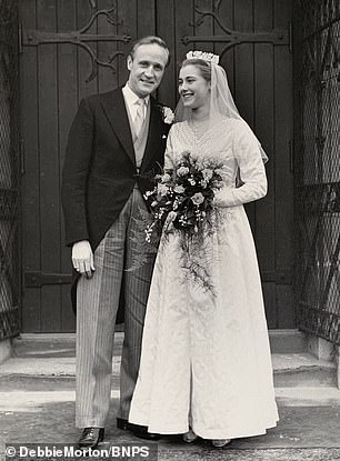 His wife Valerie Morton, 83, from Weybridge, Surrey, sold the archive as she wanted it to go to a home where it would 'truly be appreciated'. Pictured:John Morton with his wife Valerie on their wedding day