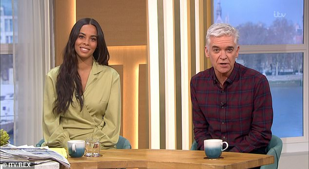 She's back! Rochelle Humes returned to This Morning presenting duties on Monday two months after giving birth to son Blake... as she admitted to having a wardrobe mishap