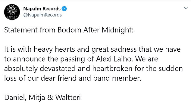RIP: The death of Alexi, who was best known as the lead guitarist, lead vocalist and founding member of Finnish metal band Children of Bodom, was announced by his Bodom After Midnight bandmates in a heartbreaking tweet on Monday
