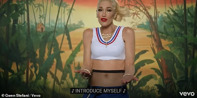 Video: Gwen also wore a white crop  top and styled her hair  into a ponytail to recreate her I'm Just A Girl look