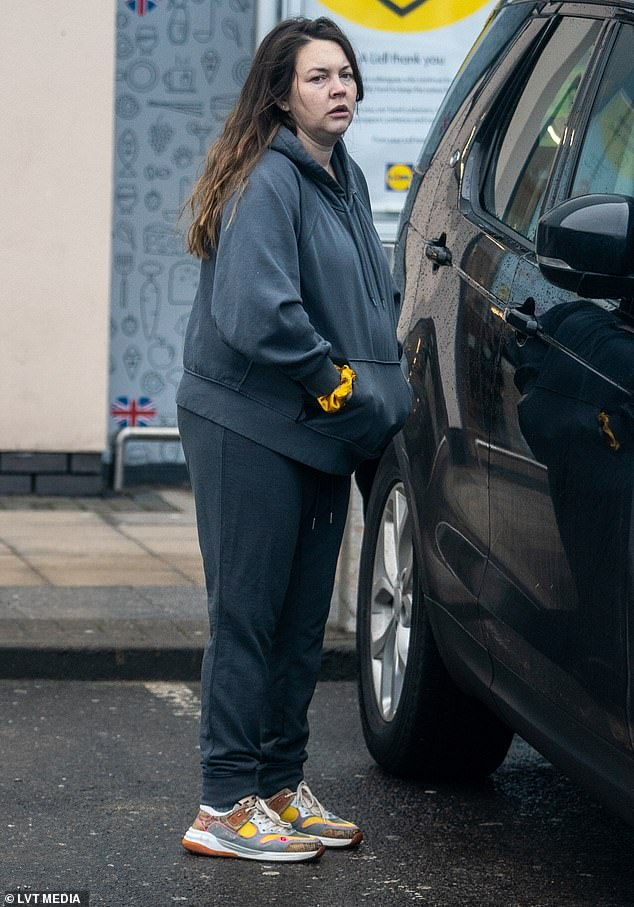 Running errands: The actress, 30, completed the look with joggers as she kept a low profile in her local Lidl store