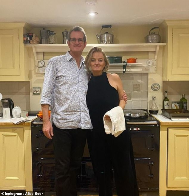 'It's been tough': The consumer expert confessed the live link interview marked her 'first day out of bed in three weeks' (pictured with Paul on Christmas Day)