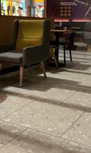 The footage shows the tiny mouse scamper across the floor of the empty coffee shop
