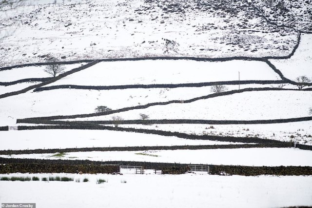 The village of Chop Gate in North Yorkshire sees a blanket of snow covering the fields this morning