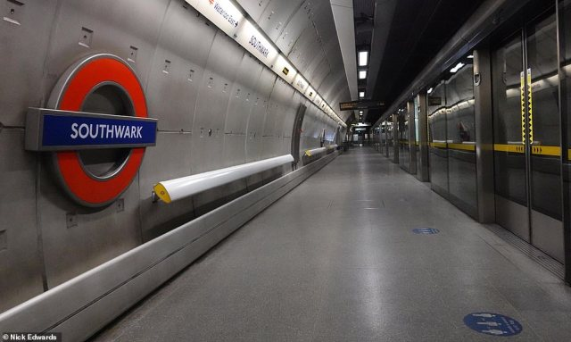 Southwark station in Central London was eerily quiet today with no one to be seen on the Jubilee line platform