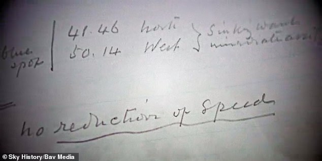 Among his notes he writes ' no reduction of speed, stating 'the Titanic was travelling at full speed despite the ice warnings