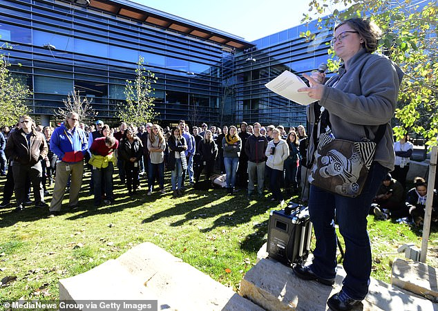 Google employee Coleen Elliot addresses the crowd at the Boulder Colorado Google Campus denouncing how the company handles sexual harassment cases on November 1, 2018