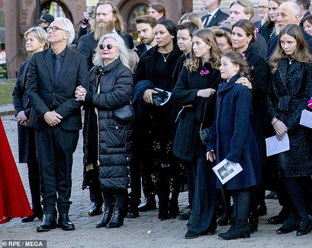 Recalling her son's funeral, Marianne said it had been a day 'where so much love and support came towards us' (pictured, with Princess Martha Louise, Leah Behn and Emma Tallulah at the funeral)
