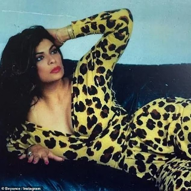Inspiration: In the stunning throwback snap a younger Tina laid on the couch in a leopard jumpsuit as she proved that Beyonce certainly got it from her mama
