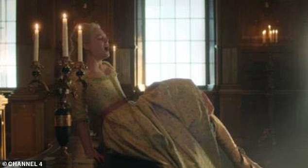 Raunchy: In May, Elle claimed her racy sex scenes as the notorious Russian monarch Catherine The Great were 'outrageous' and said she and Nicholas 'would just laugh through it'