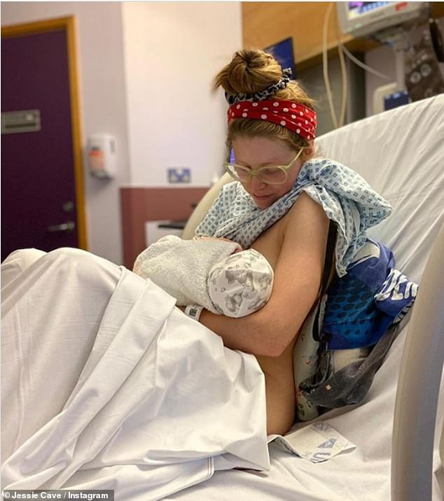 Her love:In her caption, Jessie, who shares Abraham, son Donnie, five, and daughter Margot, three, with comedian Alfie Brown, confirmed her baby is 'okay and doing well' having been stricken with the 'super powerful and contagious' strain of the virus
