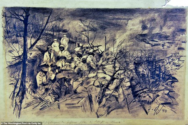 """Julius Schmitz-Westerholt's """"Ski Troops In Norway Invasion"""" is a 1940 charcoal drawing. The piece was taken from Germany by US soldiers during WWII"""