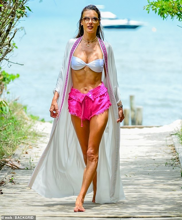 Alessandra Ambrosio shows off her jaw-dropping figure as she takes a jet ski trip in Brazil