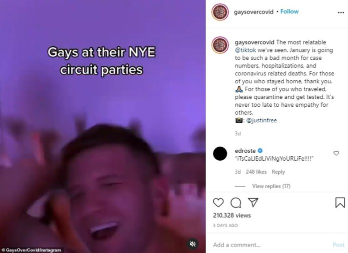 A clip from TikTok titled `` Gays at their New York Tour Parties '' showed a script of gay men partying over the New Years holiday weekend