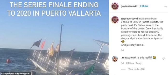 Instagram also shared a video of a party boat that sank in the ocean waters of Puerto Vallarta, Mexico on New Years Eve.