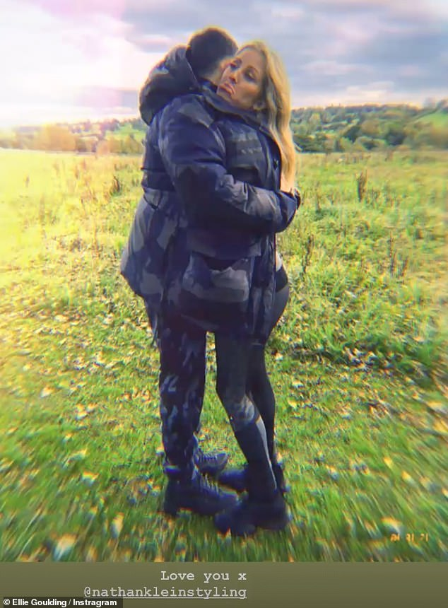 Birthday tribute:The snap was apart of a tribute to her pal Nathan Lein, while she also shared a photo of the two of them hugging in a field