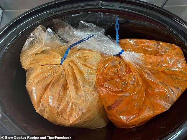 The hack involves using slow cooker liner bags and placing the food for the separate meals inside each one (pictured)