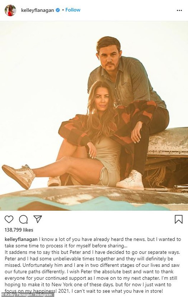 Handling grief: In her own post, shared to Instagram on Jan.3, Kelley admitted she needs to 'take the time to process' the breakup before talking about it.
