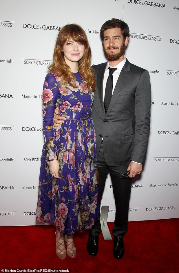 Old Flame: Before her relationship with Dave, Emma dated British actor Andrew Garfield for four years (pictured together in 2014).