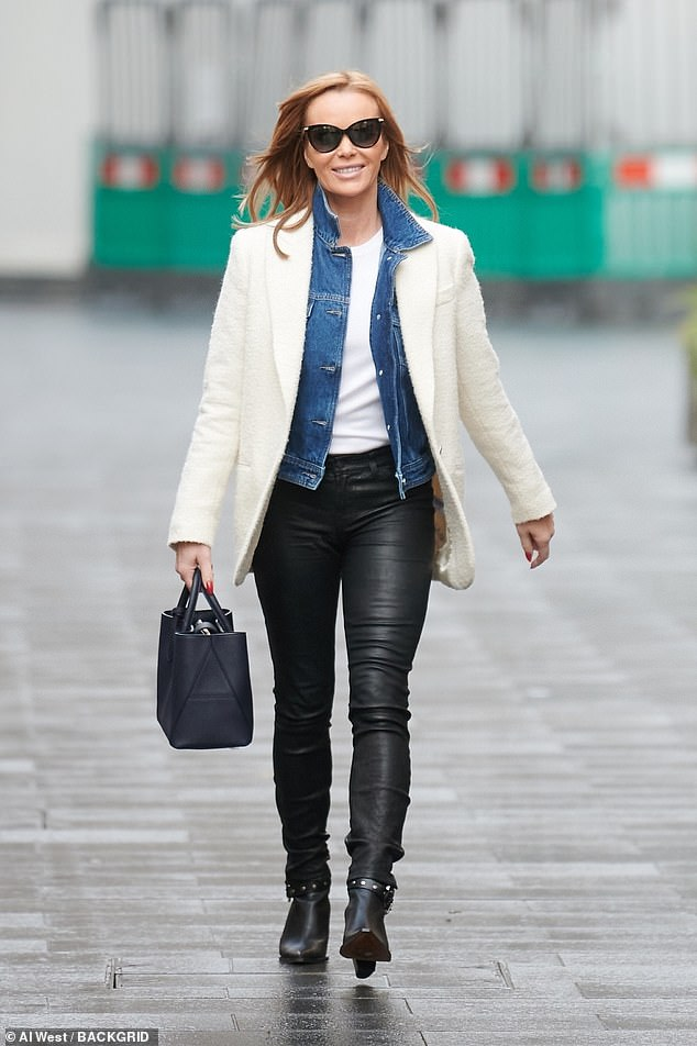 Looking good:Amanda Holden cut a typically chic figure as she departed Global Studios after hosting her Heart Radio breakfast show on Wednesday