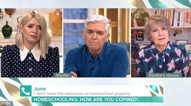 Good deed: The presenter, 39, made the kind gesture during a heartwarming phone-in segment alongside co-star Phillip Schofield, 58, and agony aunt Deidre Saunders