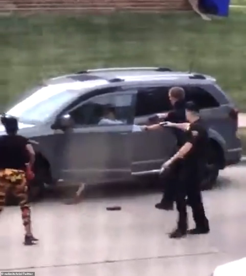 The moment Sheskey opened fire on Blake on August 23 in Kenosha