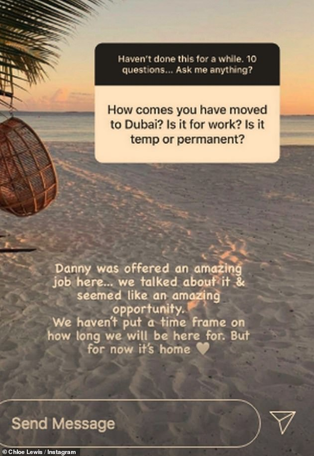 New home: The mother-of-one has relocated to Dubai with her boyfriend Danny Flasher and their son Beau, which she confirmed in December during an Instagram Q and A