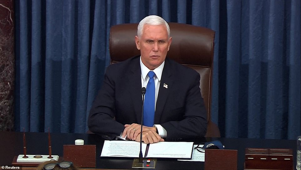 Mike Pence re-opens Senate and praises police who defended Congress from MAGA mob