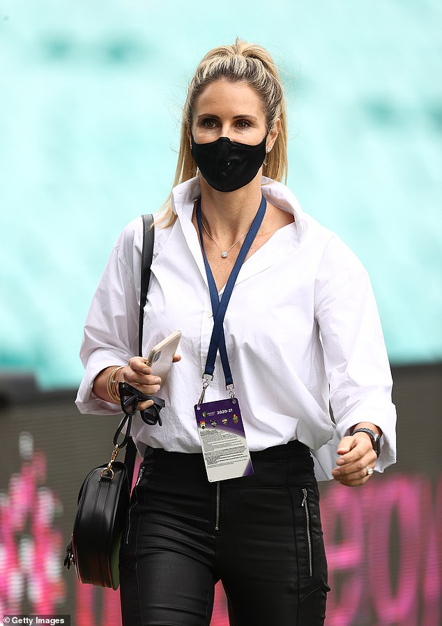 Under mask glam:The beauty opted to wear her blonde hair in a ponytail and sported her usual dark makeup palette on her face