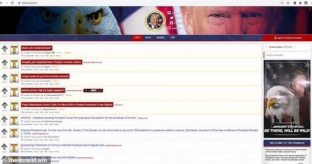 TheDonald.win est un babillard électronique de style Reddit où les utilisateurs pro-Trump publient des messages.  Dans les jours qui ont précédé mercredi, plusieurs appels à la violence et à la prise des armes ont été lancés lors d'événements à Washington, DC.