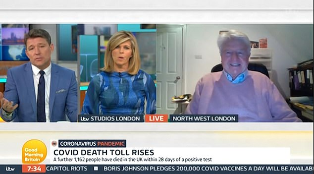 Presenter Kate Garraway, whose husband Derek Draper remains struck down with coronavirus, branded him 'naughty' and put it to Stanley that his bullish tone has at times been at odds with the Boris Johnson's more somber messaging.